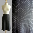 Classic Black White Chevron Pinstriped Panelled Gored Midi Work Office Skirt XS