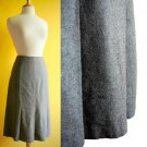 Classic Chic Dove Gray Pleated Wool Felt Slim A-Line Midi Fall Winter Skirt XS S