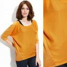 NWT Mustard Yellow Chiffon & Jersey Knit Raglan Dolman Scoopneck Blouse Top M