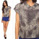 NWT Forever 21 Gray Black Cheetah Animal Print Peter Pan Collar Blouse Top S