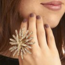NWT Modcloth Goldtone & Rhinestones Oversized Floral Burst When We Kiss Ring
