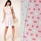 NWT ASOS White Embroidered Cotton Eyelet Skirt /w Coral Pink Lining USD53 XL XXL