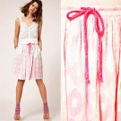 NWT ASOS White Cotton Lawn Jacquard Summer Skirt Hot Neon Pink Lining USD58 M 10