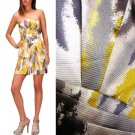 NWT Yellow White Gray Abstract Pleated Strapless Cocktail Sheath Dress USD72 S