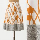 NWT Anthropologie Ochre Vines White Orange Brown Modern Floral Skirt USD88 M