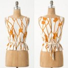 NWT Anthropologie Ochre Vines White Brown Floral Peplum Blouse Shell Top L 12
