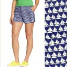 Old Navy Shorts Dark Navy Blue White Sailboat Print Twill Cute Summer NWT L 14