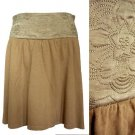 Mango MNG Tan Brown Flared Knit Skirt /w Floral Silk Quilted Appliqué Waist XS S