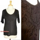 J.Crew Black Tee Handmade Lace Necklace 3/4 Sleeve Classic Knit Top NWT USD45 XS