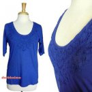 J.Crew Cobalt Blue Tee Handmade Lace Necklace 3/4 Sleeve Knit Top NWT USD45 S