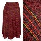 Red Plaid Skirt Pleated Midi Yellow Black Tartan Print Holiday Fall Winter XS 2