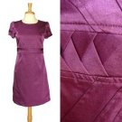 Purple Work Dress Seamed Pleated Triangle Waist Straight Cut Made in Korea S M