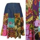 Denim Patchwork Skirt Batik Print Pieces Peasant Bohemian Ethnic Indonesian S