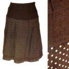 Dark Brown Skirt Cream Polka Dot Print Fall Winter Weight A-Line Lace Trim S