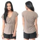 Forever 21 Knit Top Taupe Brown Pleated Gathered Front Classic Scoopneck Tee M