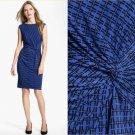 Chaus Twist-Knot Dress Blue Cobalt Black Geometric Print Jersey Work NWT USD89 S