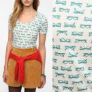 Urban Outfitters Tee Glasses Print White Teal Green Scoopneck T-Shirt NWT S M