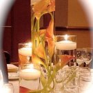 Set of 4 Cylinder Glass Vases with Calla Lilies and Floating Candles.