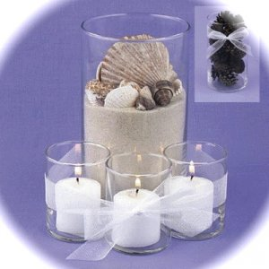 Set of 4 - Sand and SeaShells Glass Cylinder Vase with Floating Candle and Votives Centerpiece