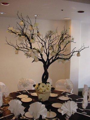 White Roses & Gerbera Daisy Manzanita Tree Wedding Centerpiece
