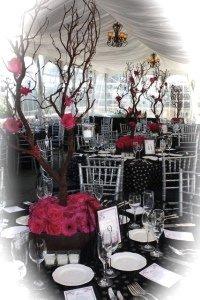 Gerbera Daisy Manzanita Tree Wedding Centerpiece
