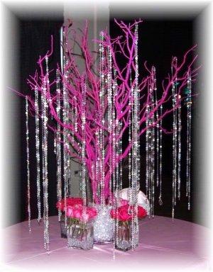 Hot Pink Manzanita Tree with Beaded Garland Accents Wedding Centerpiece