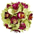 "9"" Artificial Cymbidium Orchid Pomander Kissing Ball in Green and Fuchsia"