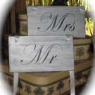 Mr & Mrs Shabby Chic Wooden Wedding Signs - Custom Made To Order