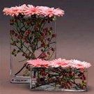 10 Gerbera Daisy & Berries Wedding Reception Glass Vase Centerpieces - Custom Made To Order
