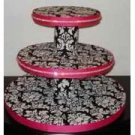 Damask Theme 3 Tiered Cup Cake Stand - Custom Made To Order