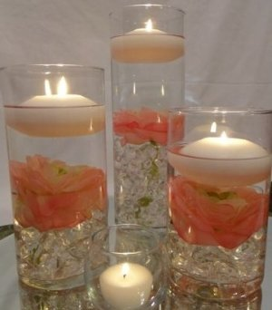 36 Peonies Wedding Reception Table Centerpieces With Floating Candles    Custom Made To Order