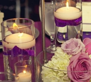Piece Set Roses & Floating Candles Wedding Reception Table ...