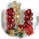 Set Of 3 Cylinder Glass Vases Christmas Ornaments Wedding Reception Table Centerpiece
