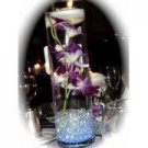 10 Piece Set - Orchids & Floating Candles Glass Vase Wedding Reception Table Centerpieces