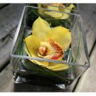 12 Orchids & Grass Square Glass Vase Wedding Reception Table Centerpieces - Custom Made To Order