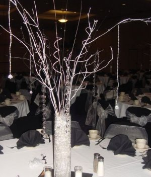 Winter Wonderland Manzanita Tree with Beaded Garland Accents Wedding Centerpiece