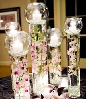 10 Piece Set Orchids Submerged Cylinder Glass Vase with Fish Bowl Candle Light Top