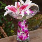 Set of 6 Stargazer Lilies & Orchids Wedding Reception Table Centerpieces - Custom Made to Order