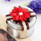 Round Favor Tin With Red Lotus (Set of 6)