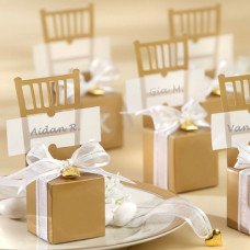 Gold Miniature Chair Favor Box With Heart Charm And Ribbon (Set of 12)