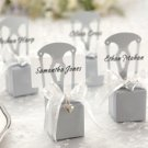 Silver Chair Style Favor Box With Heart Charm And Ribbon (Set of 12)