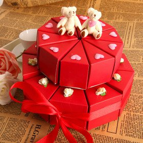 Red Double�deck Cake Favor Box With Cute Bears (Set of 20)