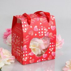 """Sweet Love"" Gift Bag With Heart Shaped Cutouts � Red (Set of 12)"