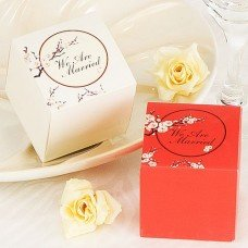 Red - Cherry Blossoms Square Favor Box (Set of 12)