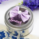 Round Favor Tin With Lilac Bow (Set of 6)