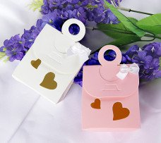 White - Double Heart Cutout Favor Bag With Bow (Set of 12)