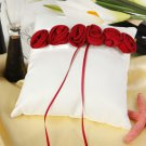 Bold Red luxury Rose Lined Ring Pillow