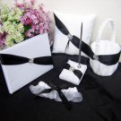 Shimmering Twilight White and Black Wedding Accessory Collection (Set of 5)
