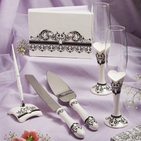 Roman Holiday Wedding Collection (Guest Book, Toasting Flutes, Pen, Cake Knife and Server)