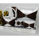 Brown Sash Wedding Set in Clear Display Box (5 Piece Set)